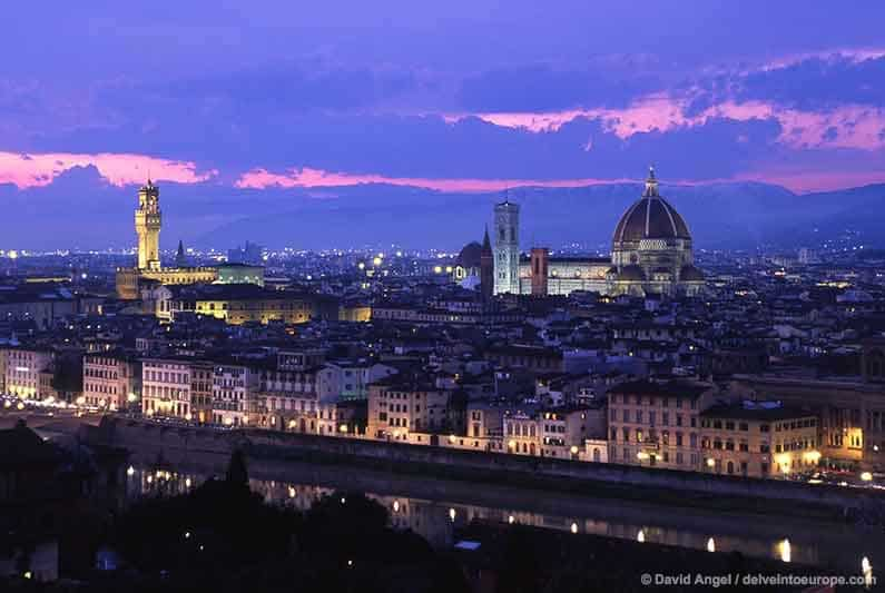 Best Places To Stay In Tuscany Image of skyline of city of Florence at night