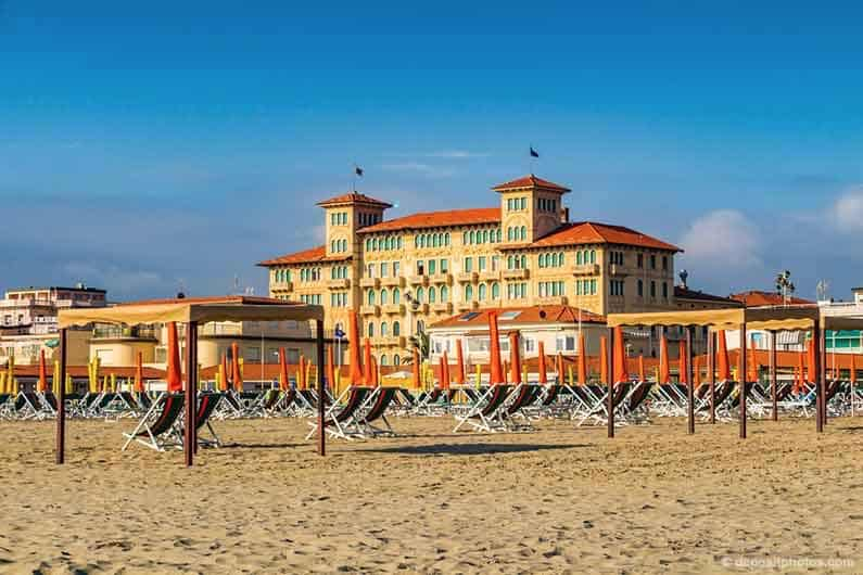 Best Places to Stay in Tuscany Image of the beach at Viareggio