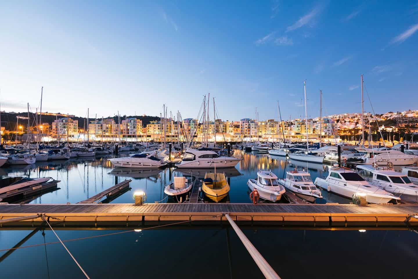Image of Marina de Albufeira with boats at twilight