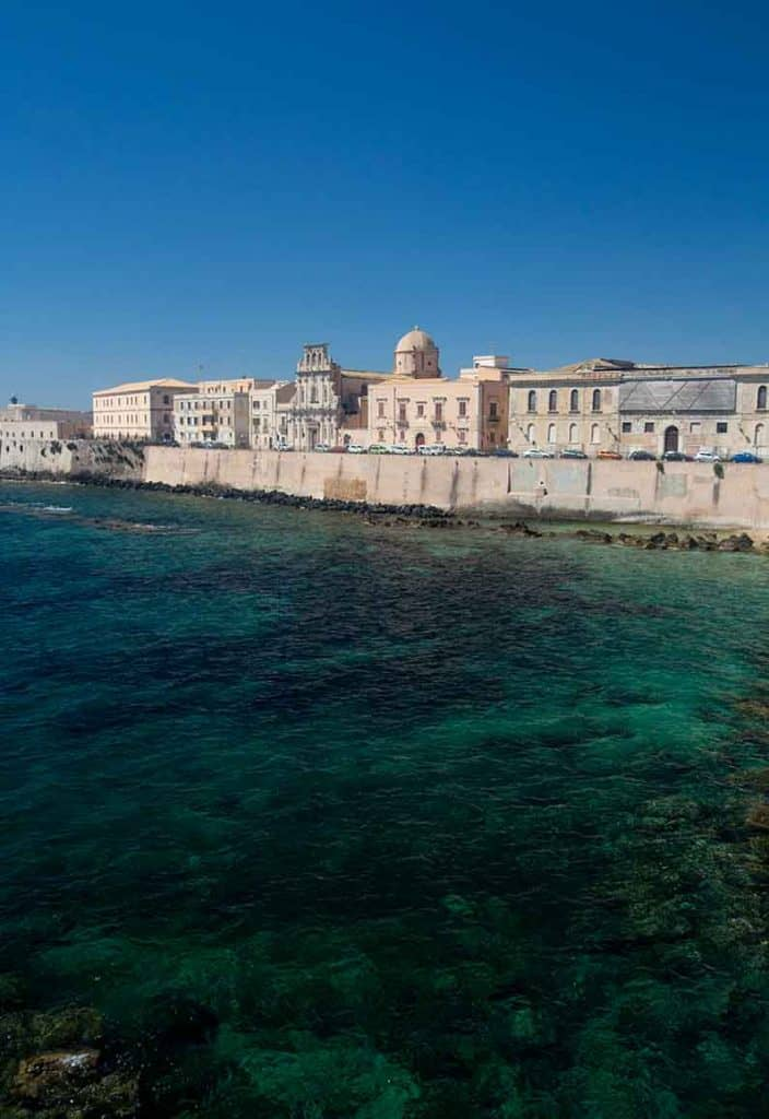 Ortigia Sicily seafront promenade that runs around the island