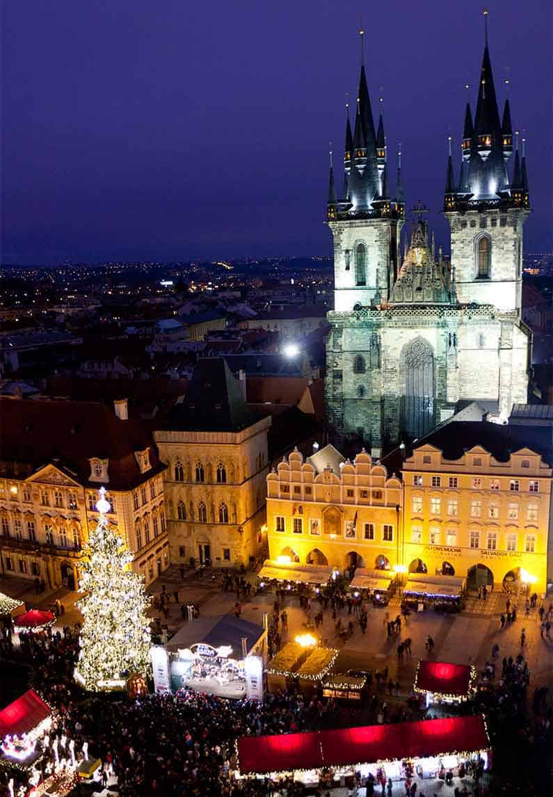 Image of Prague Old Town Square Christmas Market from Old Town Hall Tower