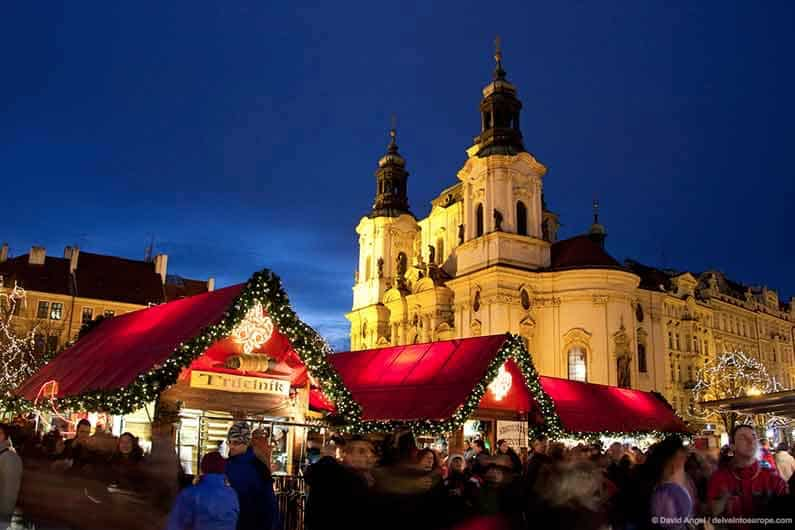 Image of Prague Old Town Square Christmas Market and St Nicholas' Church