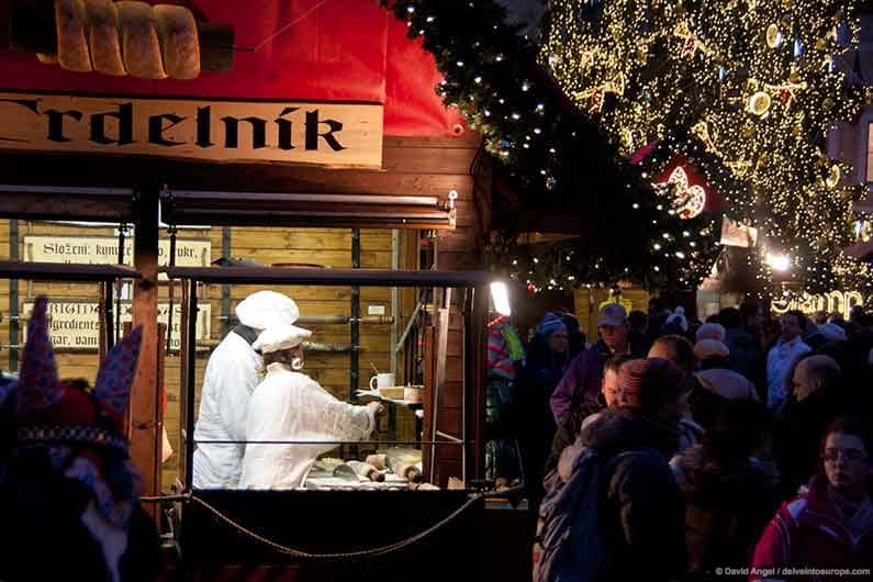 Image of Trdelnik cake stall at Prague Christmas Market