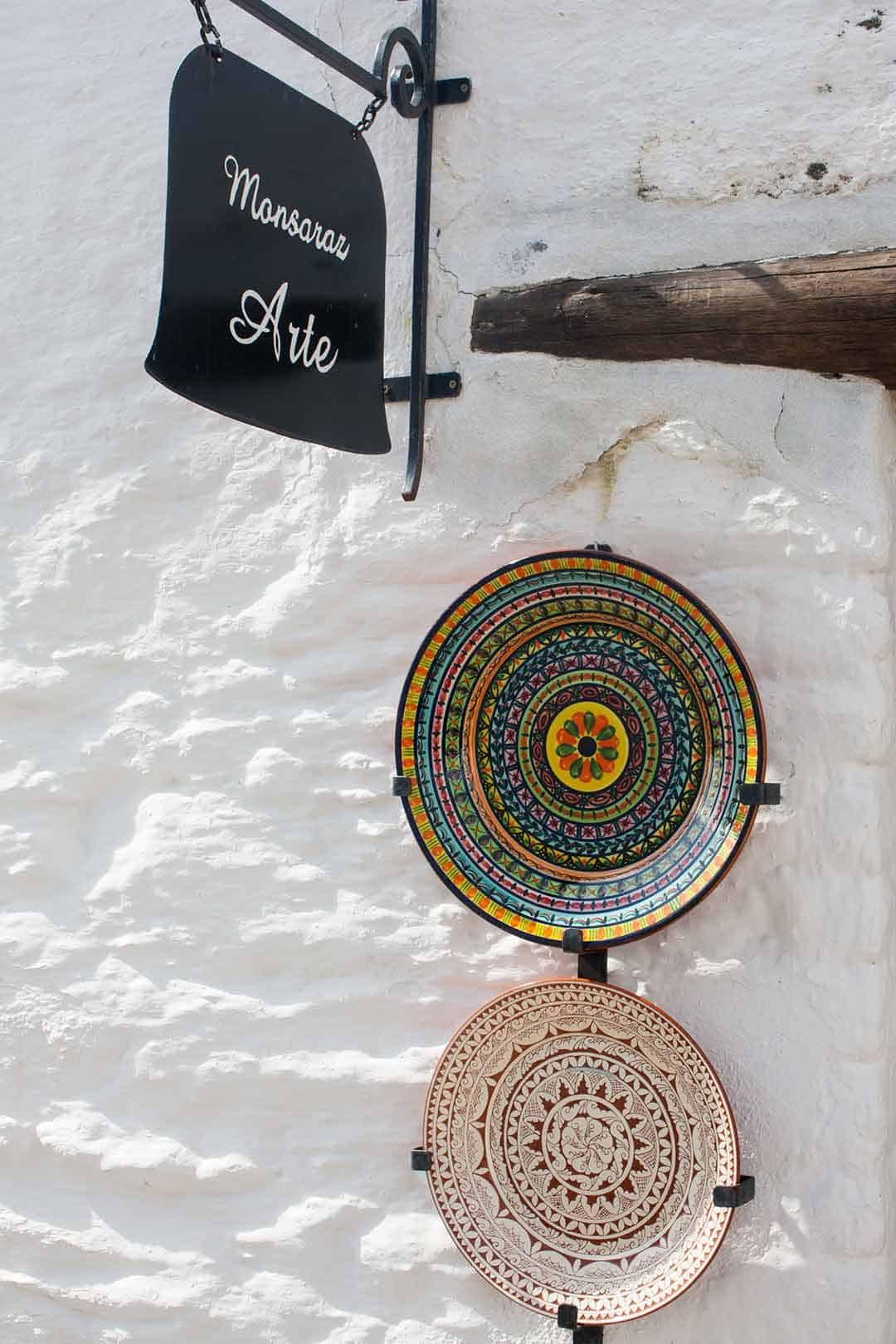 Image of Traditional ceramic plates at art shop in Monsaraz Portugal