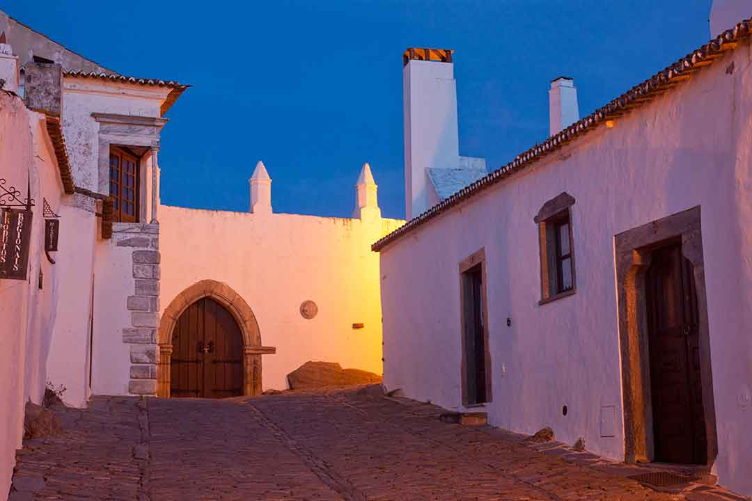 Image of the empty streets of Monsaraz, Portugal at dusk