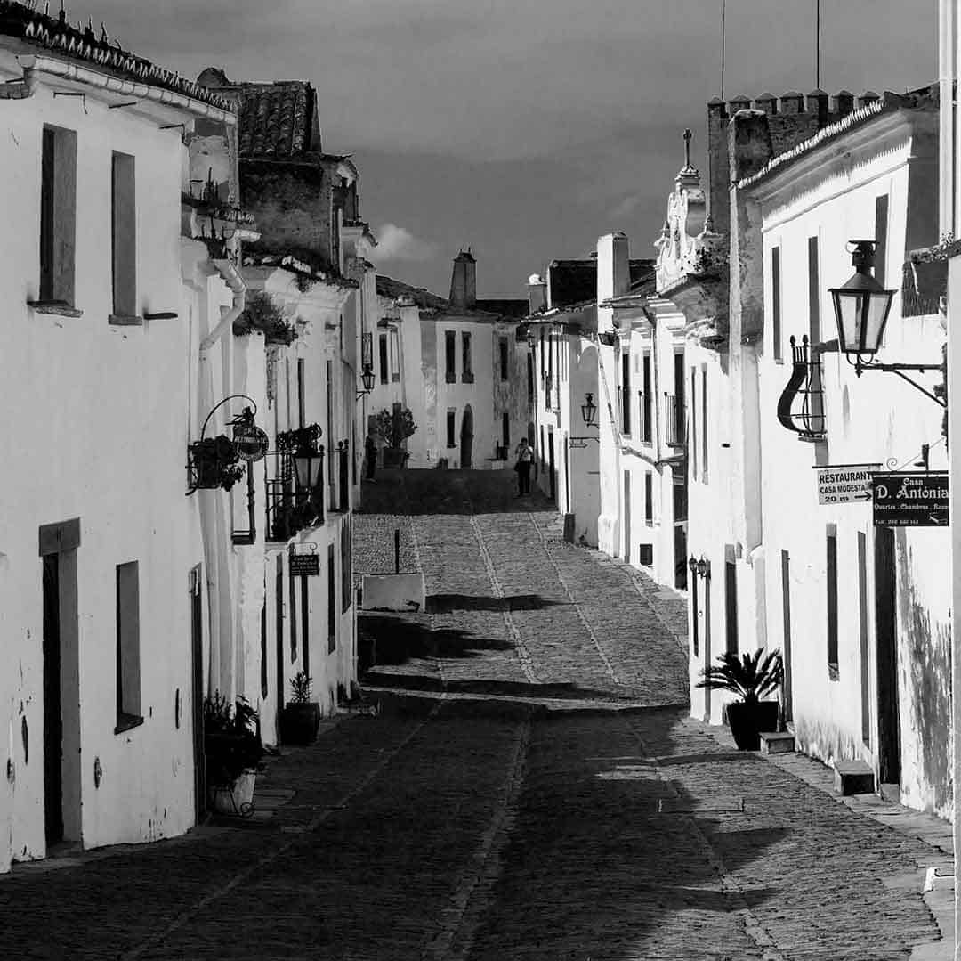 Black and white image of Monsaraz, Alentejo, Portugal