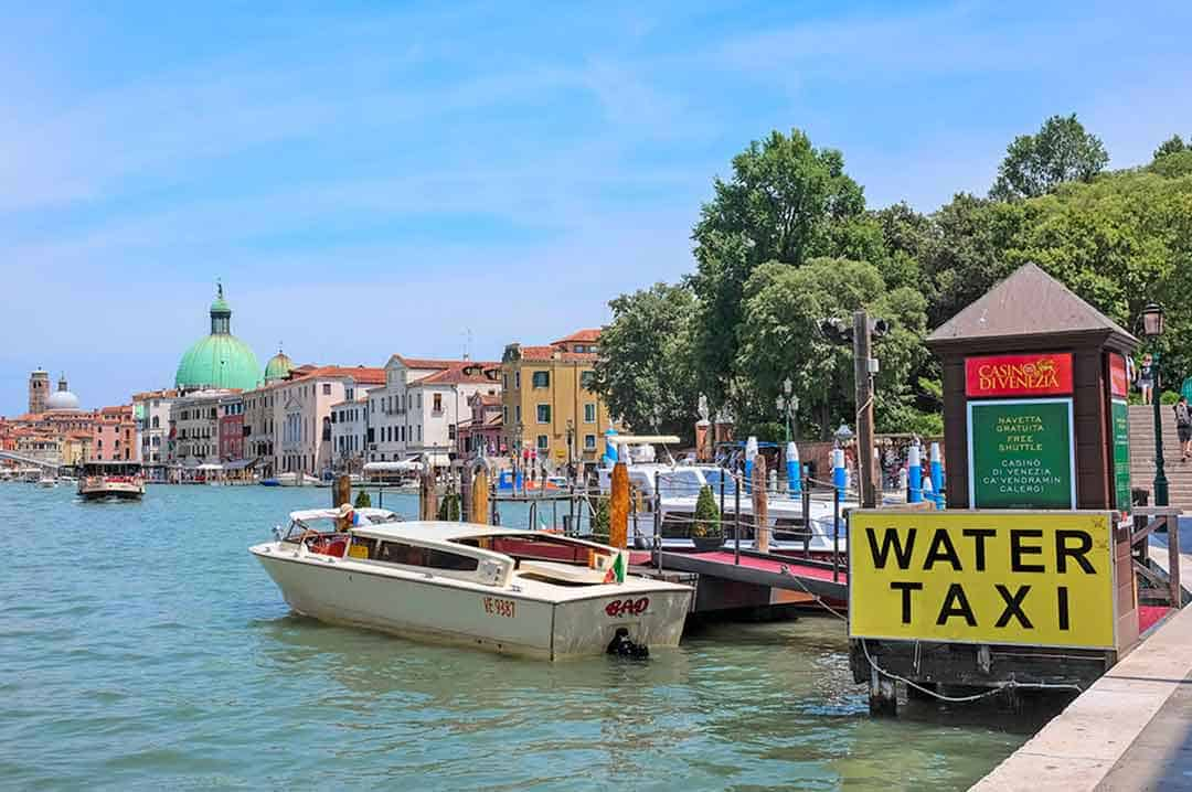 Image of a water taxi in Venice