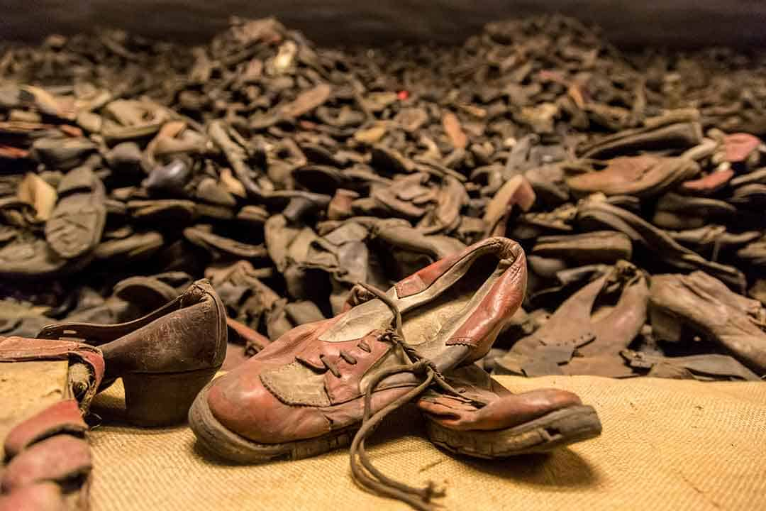 Image of part of the display of shoes taken from victims at Auschwitz