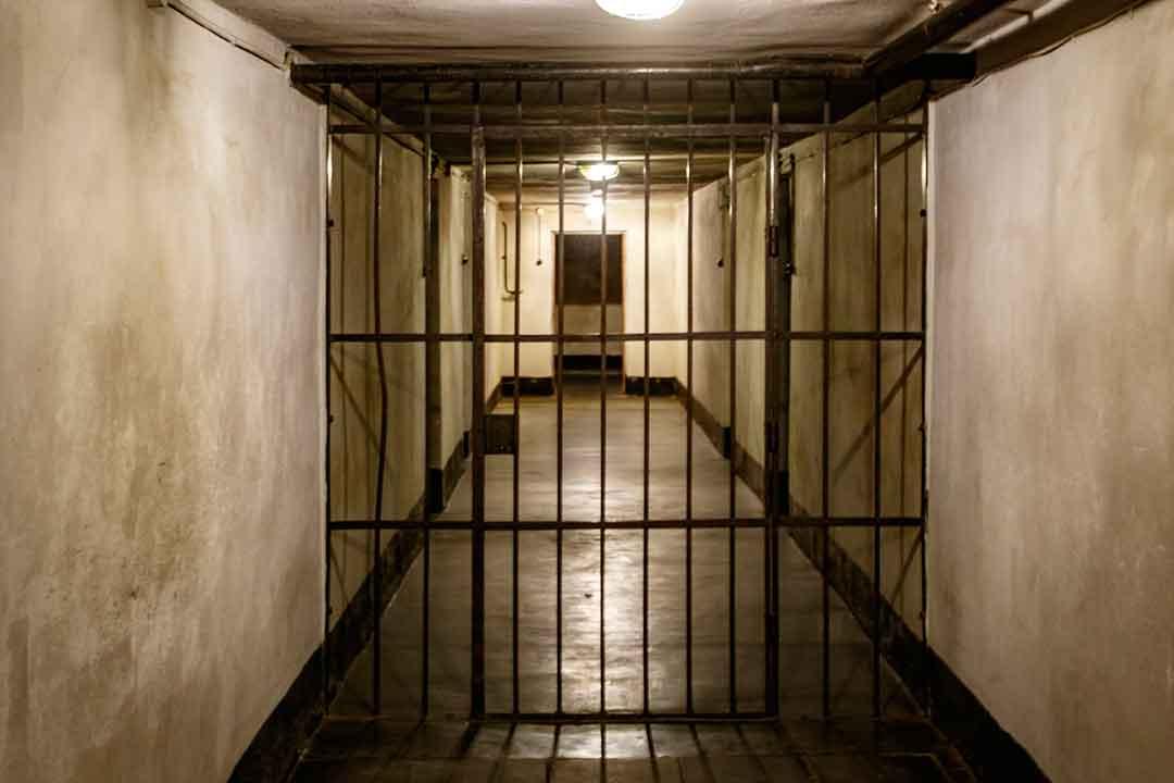 Image of corridor in prison at Auschwitz death camp