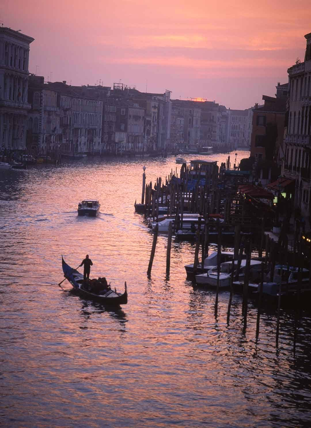 Image of gondola on the Grand Canal, Venice, at sunset