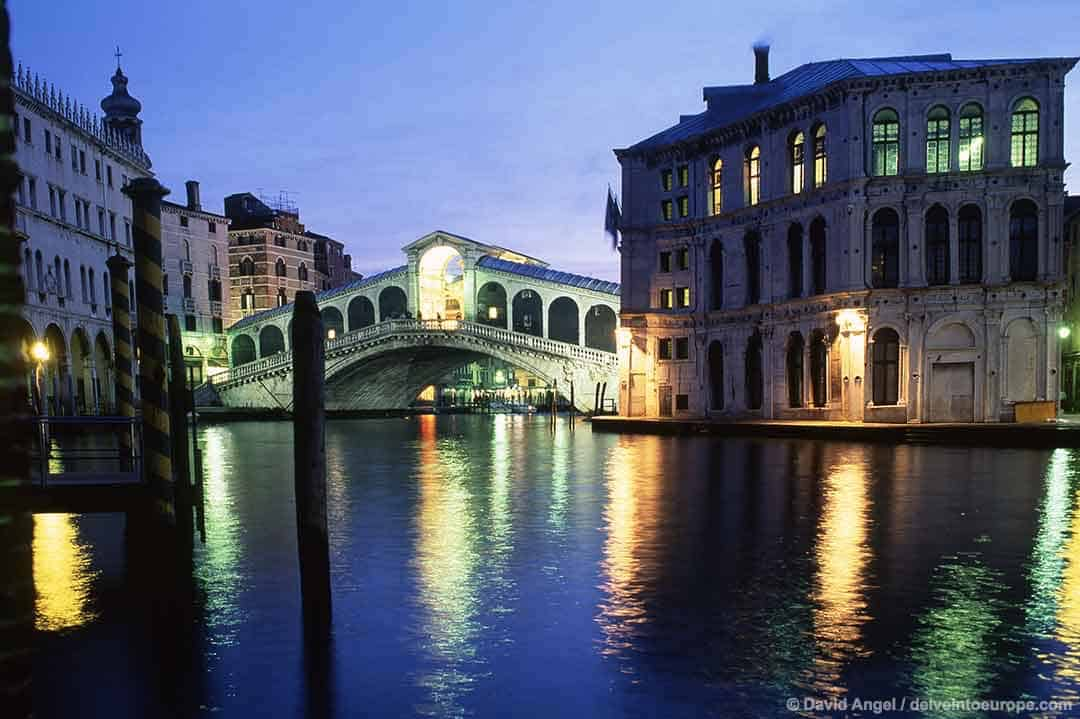 Image of Rialto Bridge and Grand Canal, Venice, at dusk