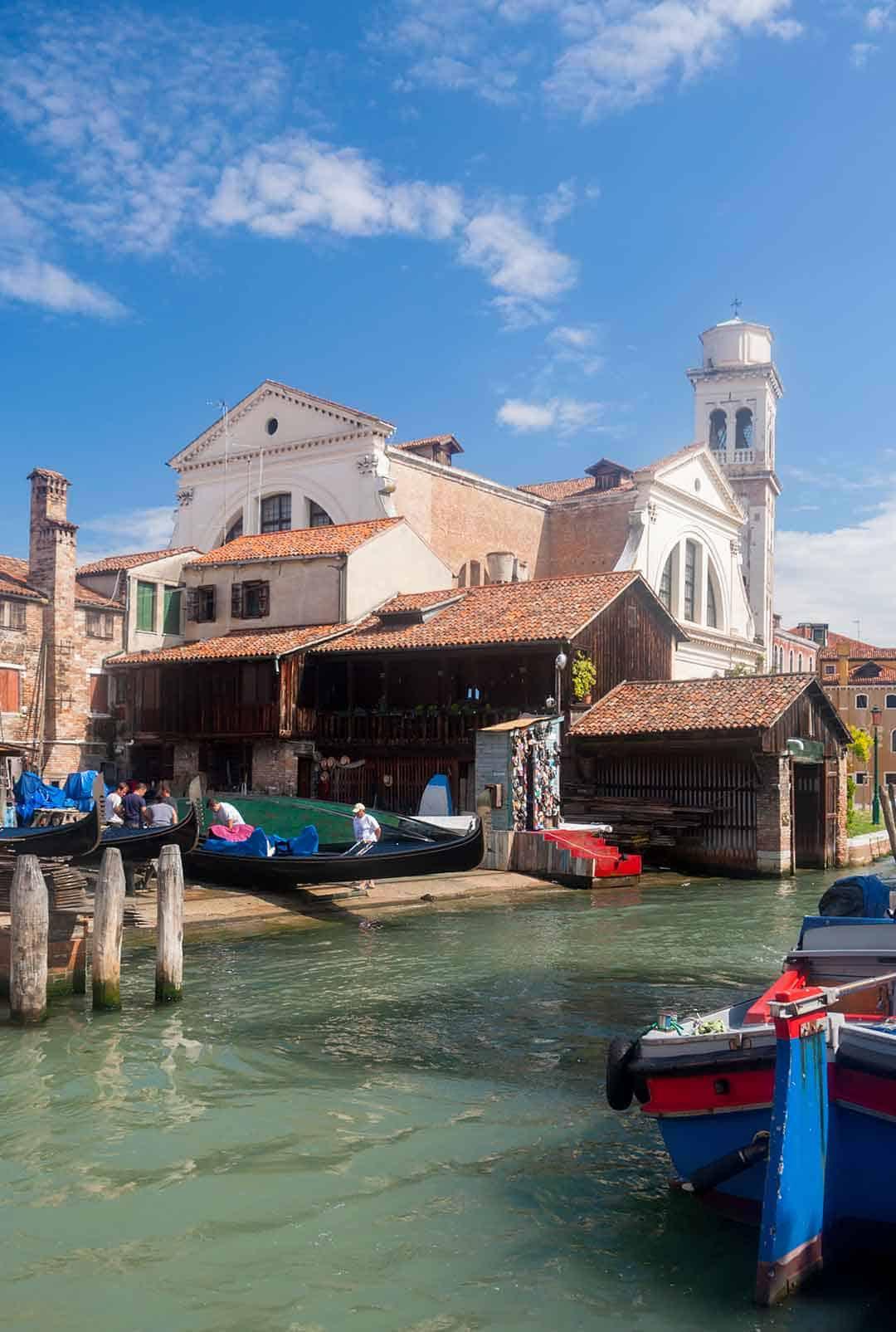 Image of Squero di San Trovaso boatyard in Venice Italy