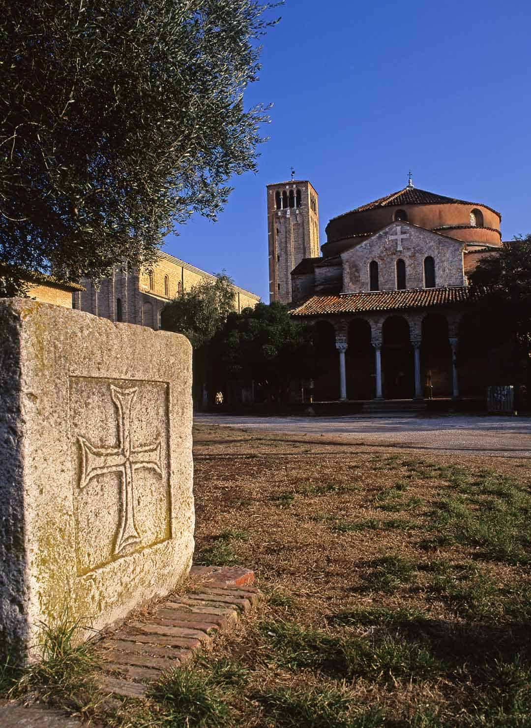 Image of Santa Fosca church and the Cathedral tower, Torcello, Venice, Italy