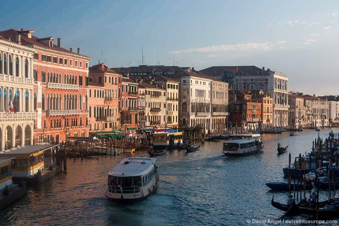 Image of waterbuses on the Grand Canal Venice Italy