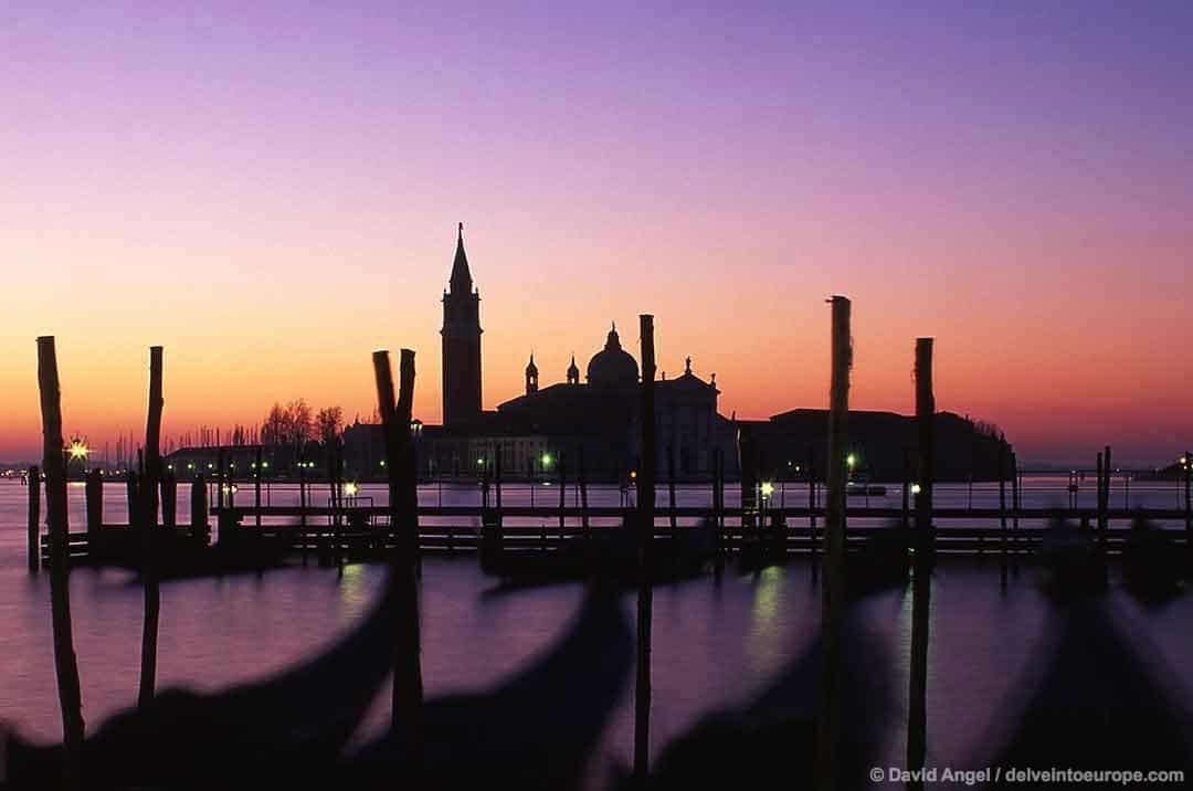 Image of San Giorgio Maggiore church at dawn Venice Italy