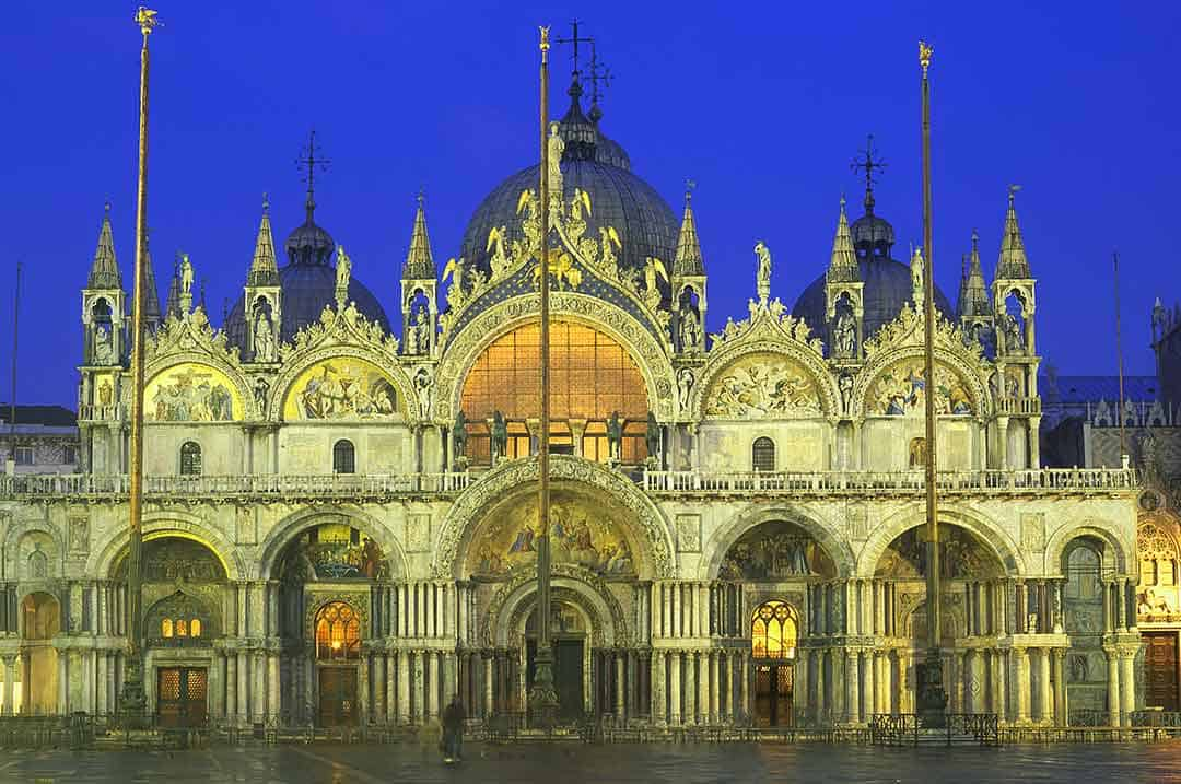 Image of St Mark's Basilica Venice Italy at dusk