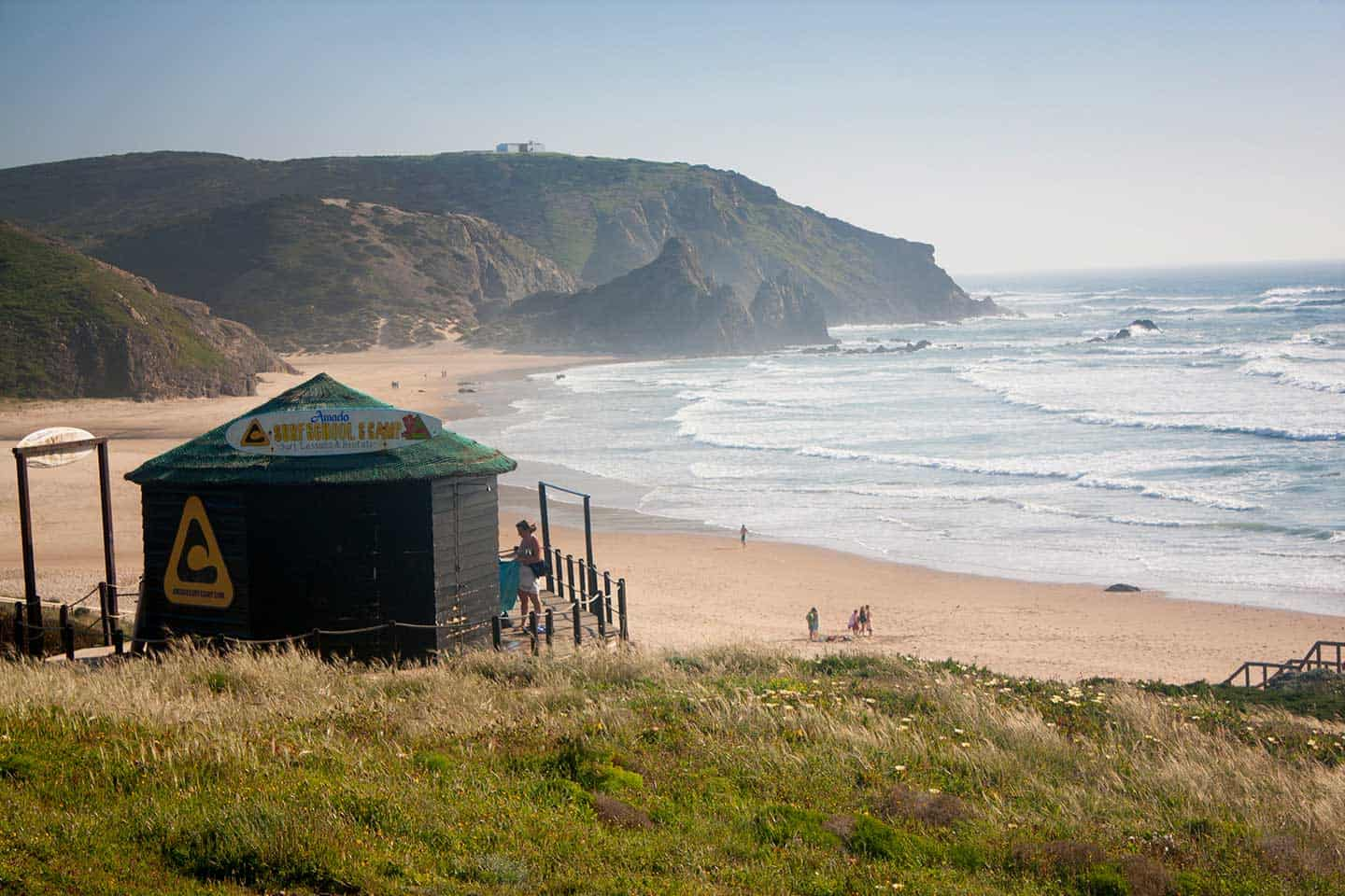 Algarve surf school Image of Praia do Amado beach and surf school hut
