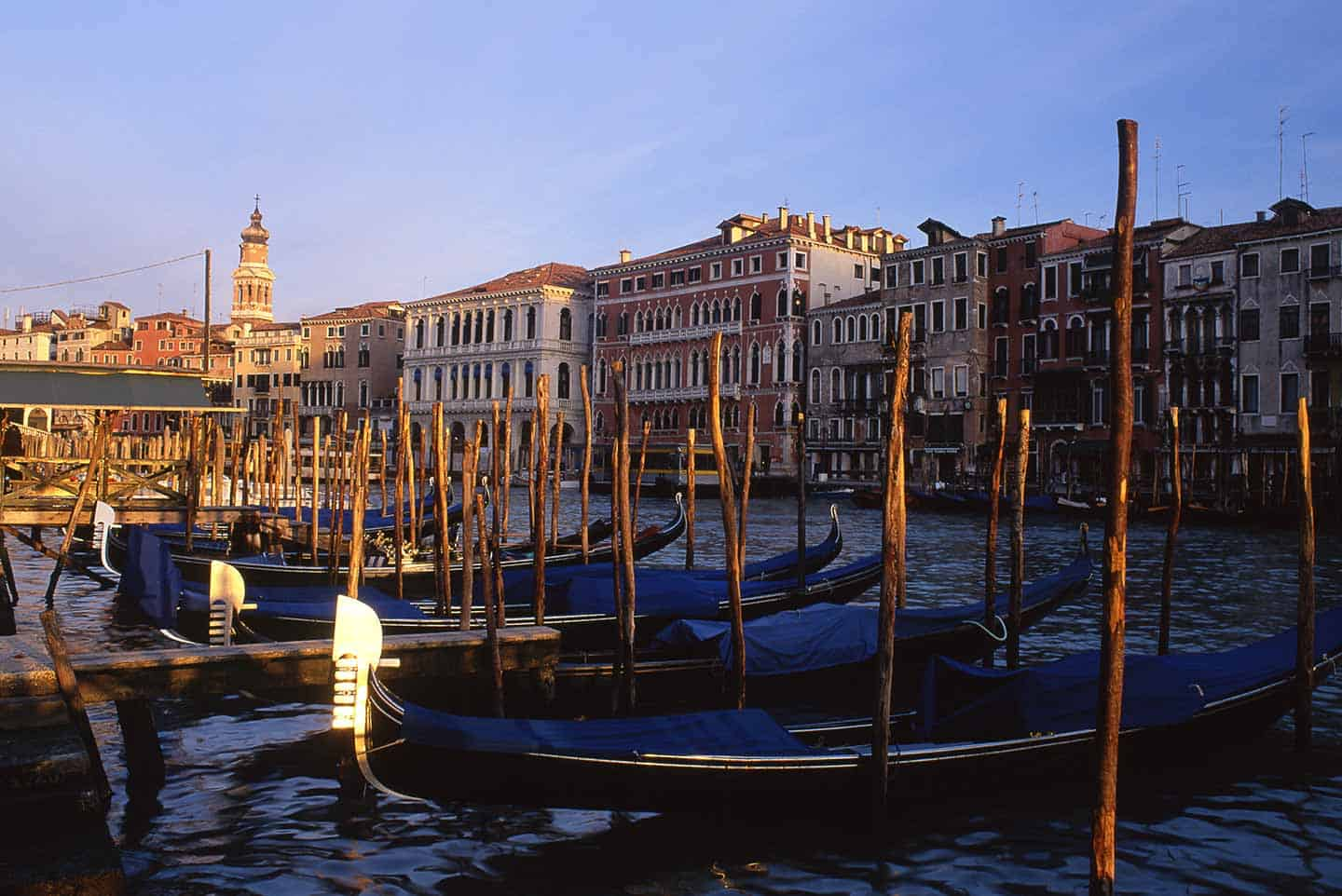 Image of gondolas on the Grand Canal near San Silvestro, Venice