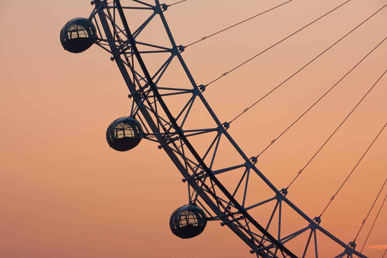 Image of the London eye at sunrise