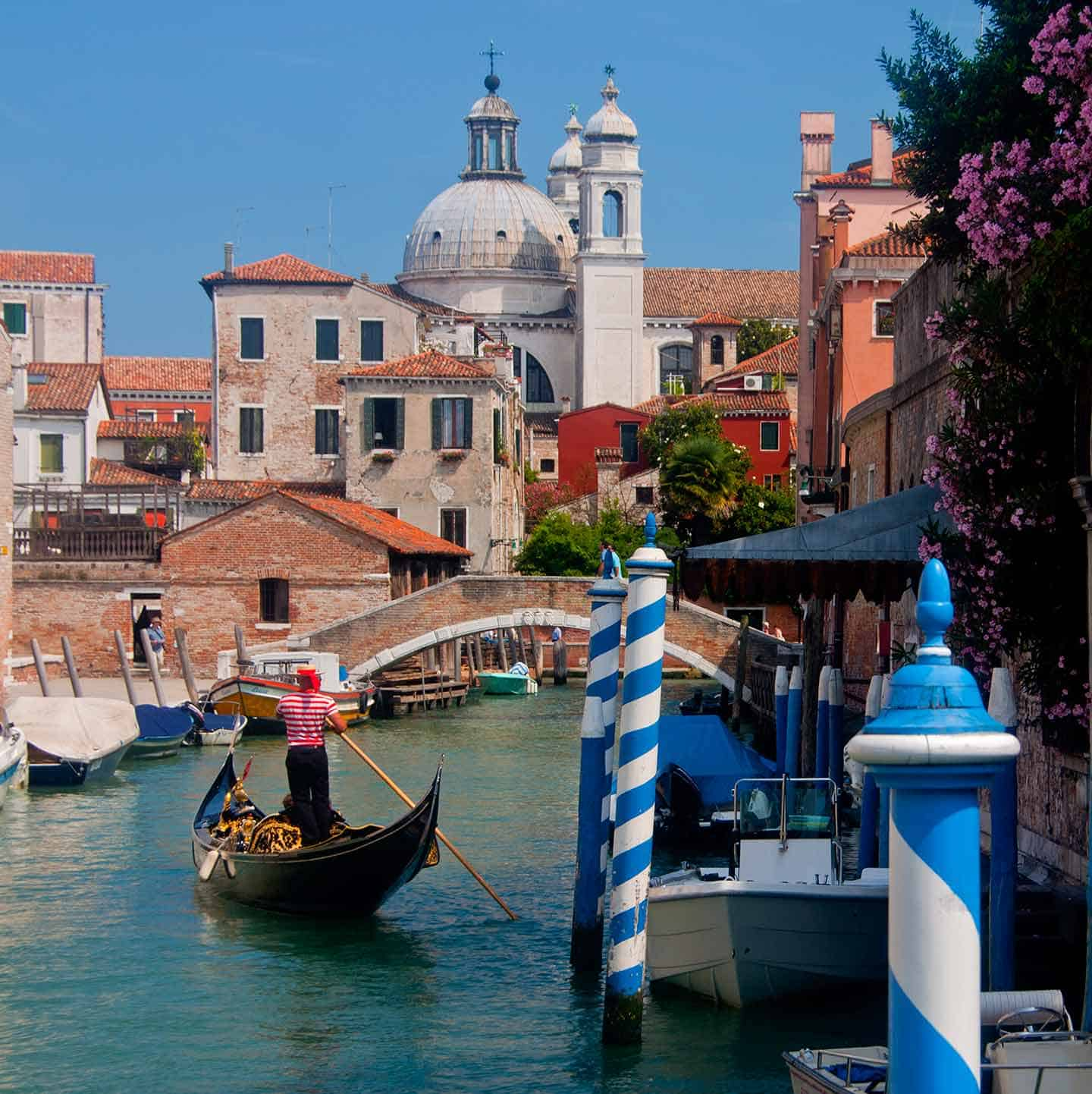Image of gondola on a canal in the Dorsoduro district of Venice