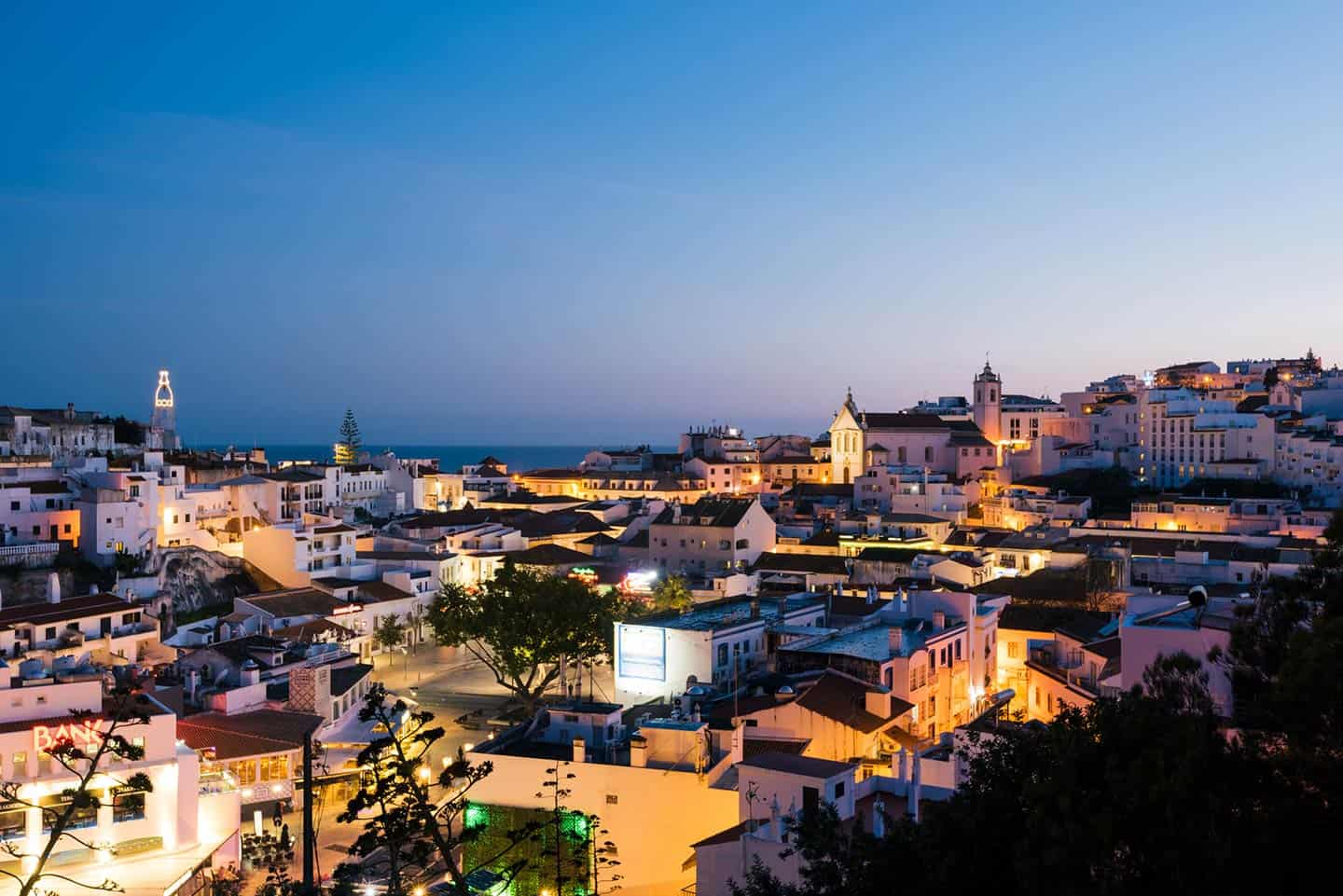Image of old Town Albufeira hotels and town skyline