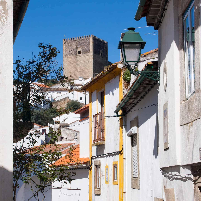 Image of backstreets and castle at Castelo de Vide Alentejo Portugal