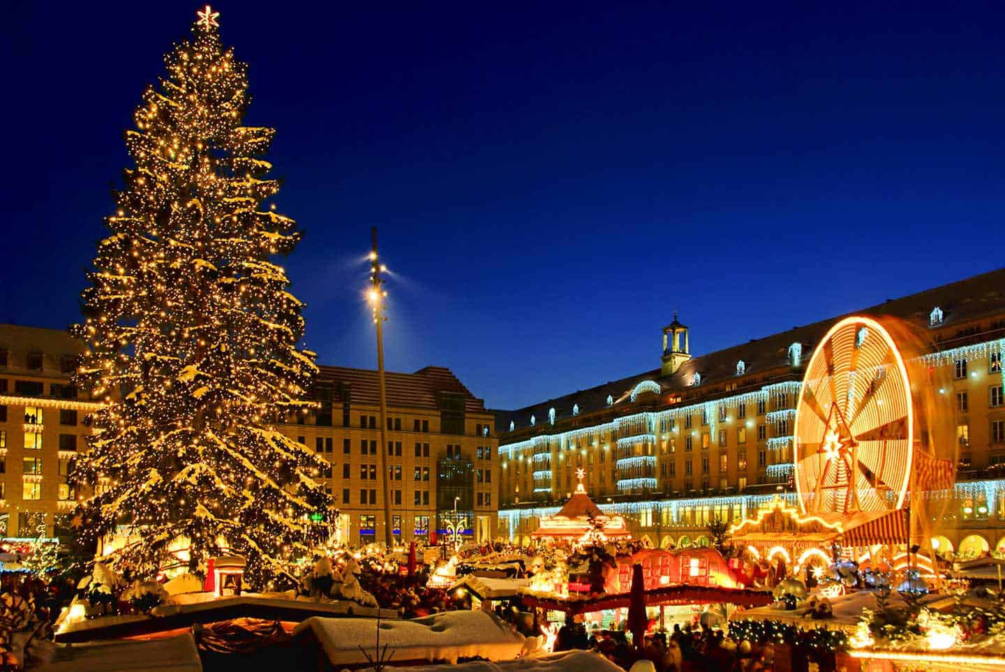 Image of the Striezelmarkt Christmas Market in Dresden, Germany
