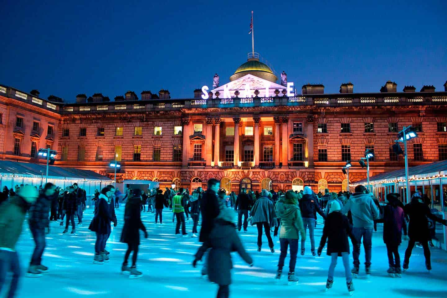 Image of Somerset House and its winter ice rink in London