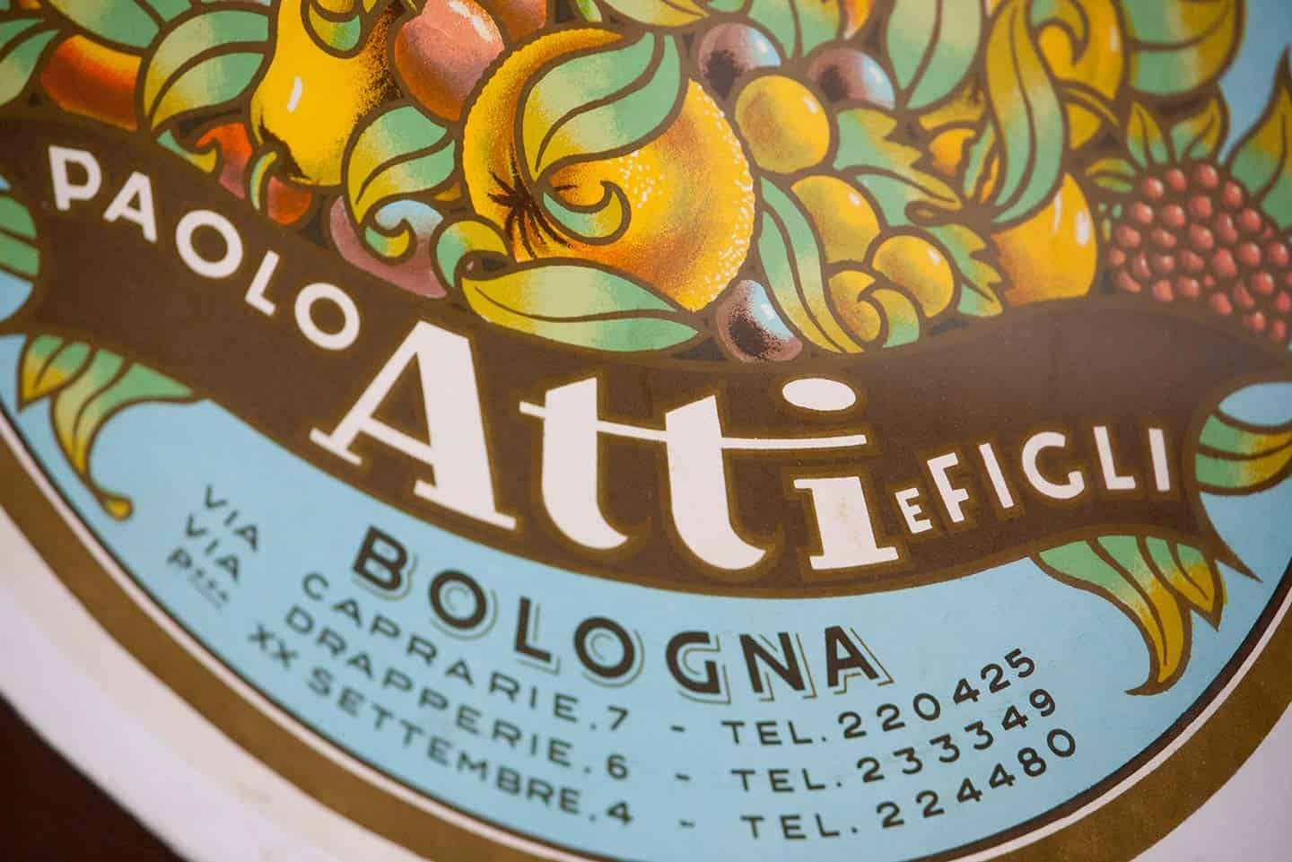 Image of Atti & Sons food label in Bologna Italy