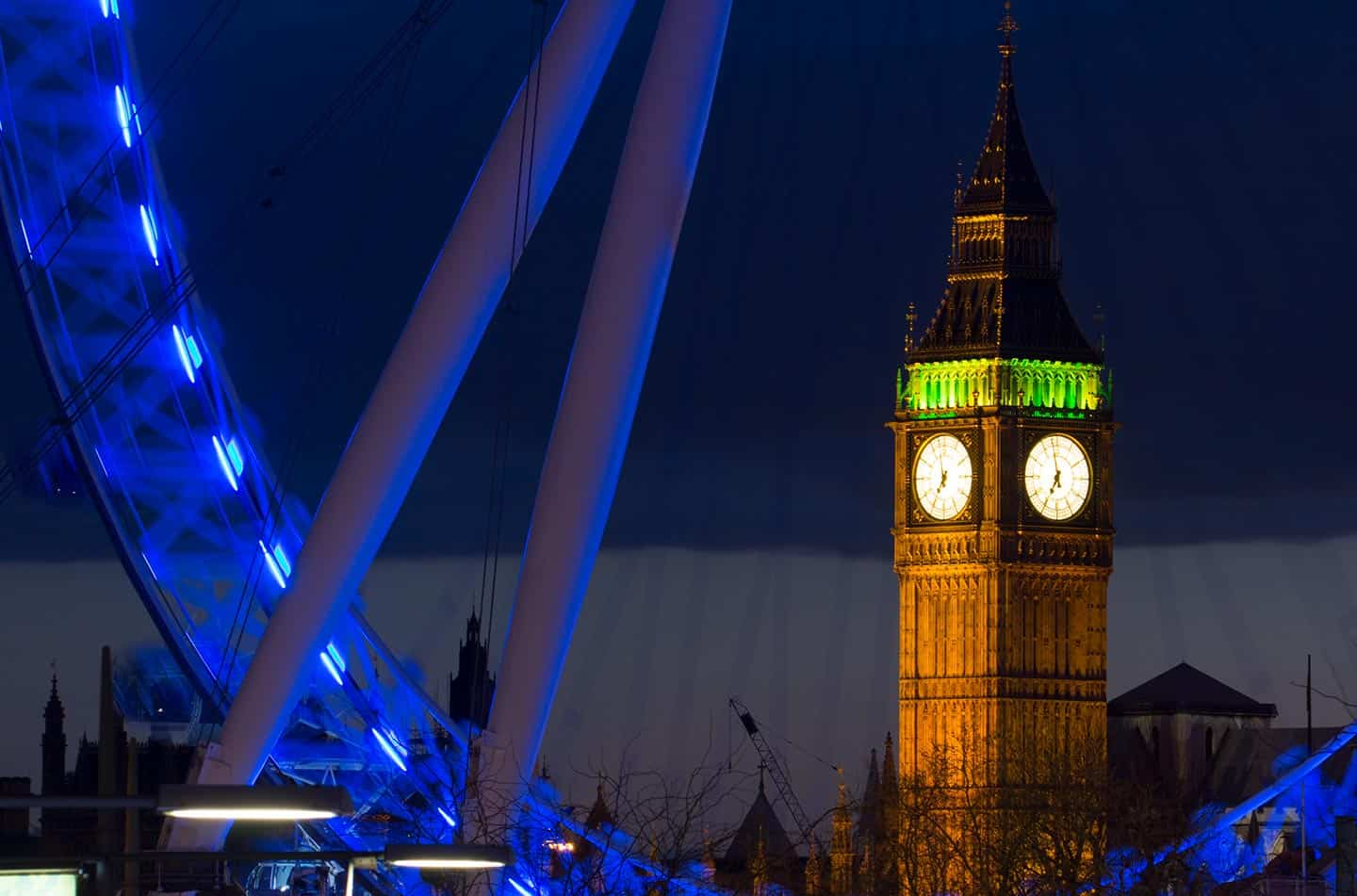 Image of Big Ben and the London Eye at night