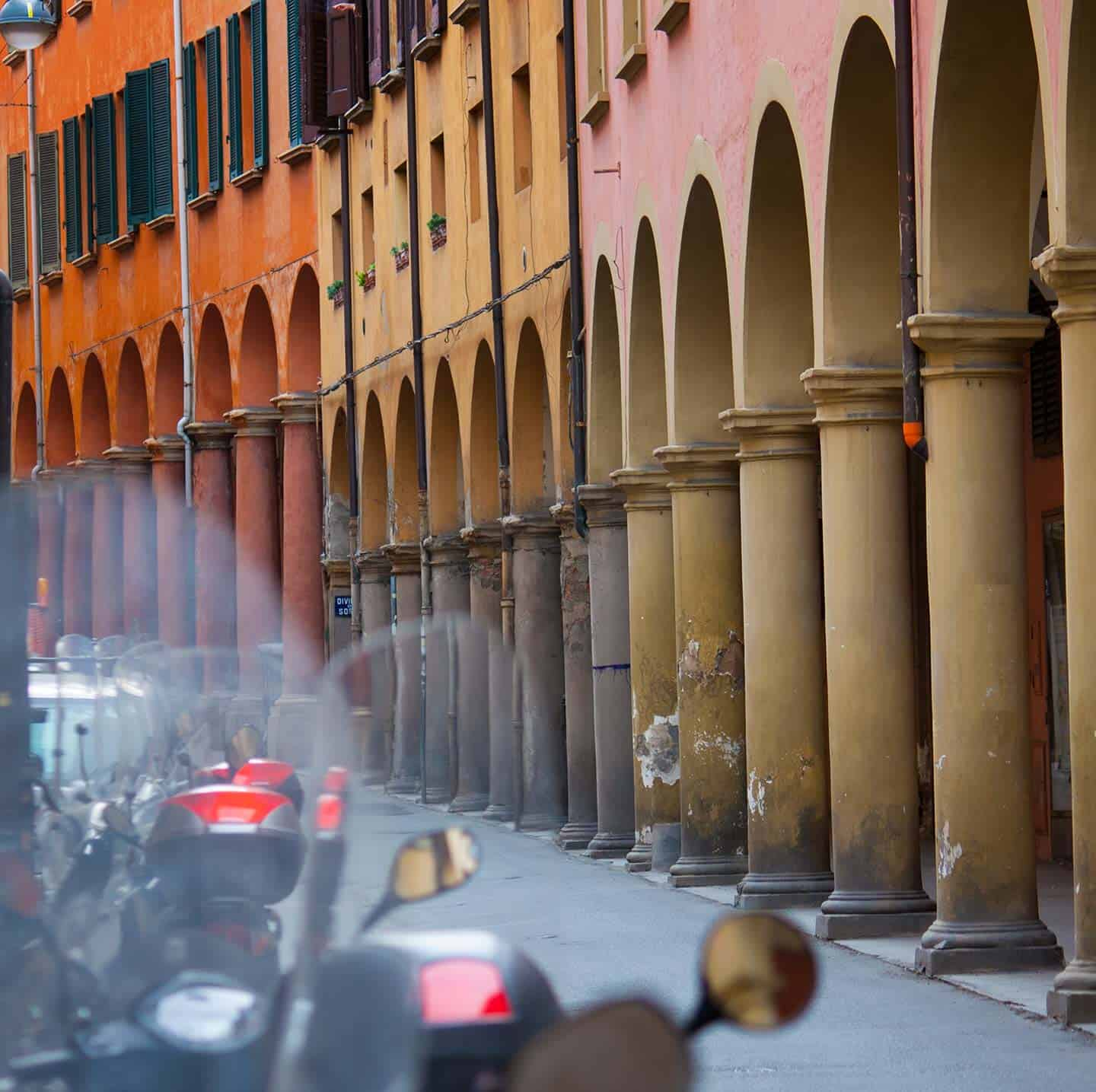 Image of porticoed streets in Bologna Italy