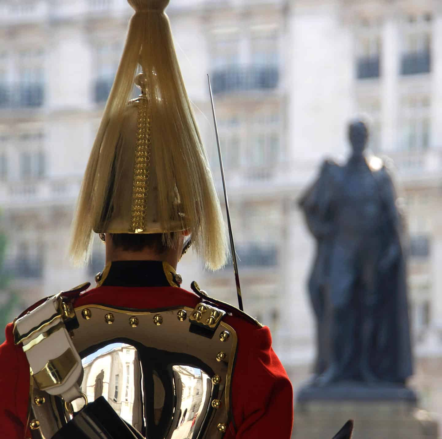 Image of a Guardsman on duty at Horse Guards Parade, looking across Whitehall