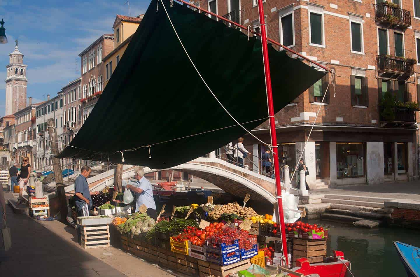 Image of a greengrocer stall on a boat in Venice