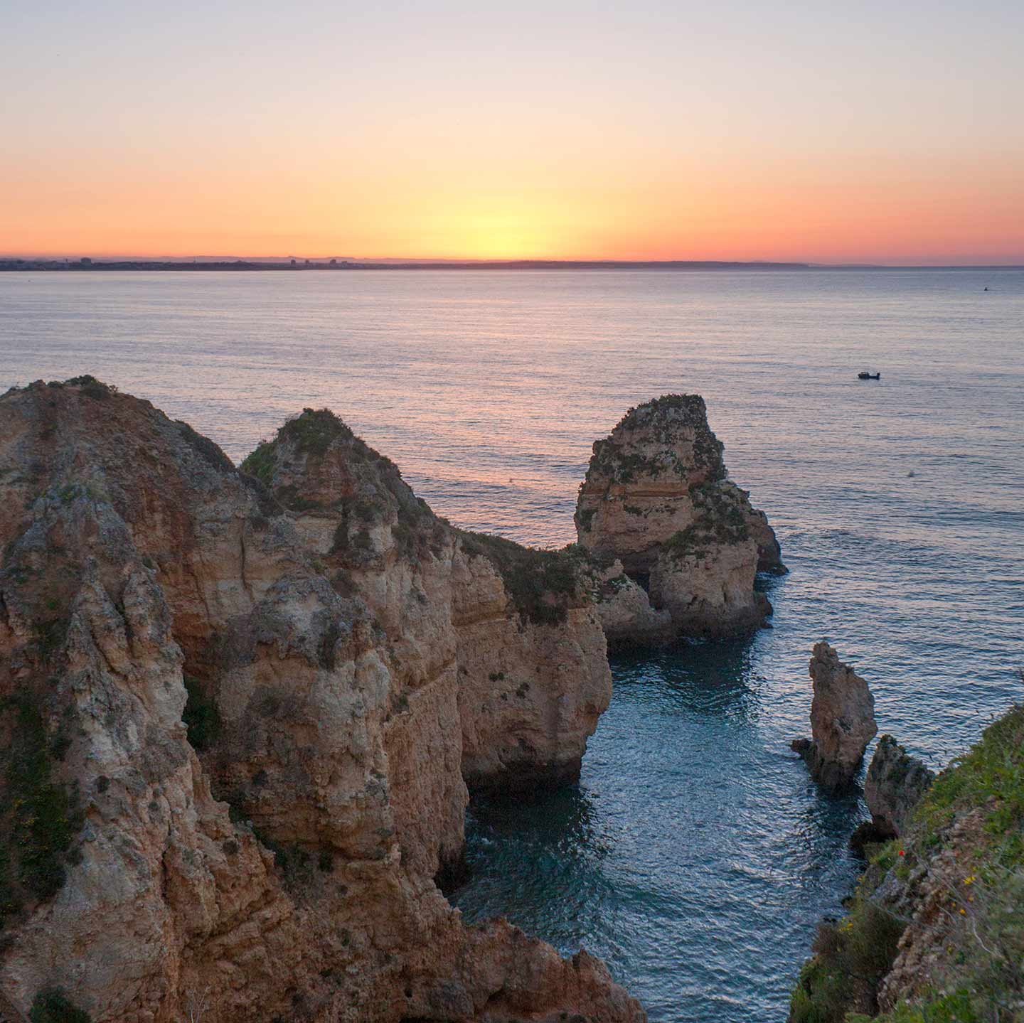 Image of sunrise over the Ponta da Piedade, Lagos, Algarve