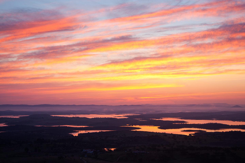Image of the Barragem do Alqueva lakes from Monsaraz, Portugal