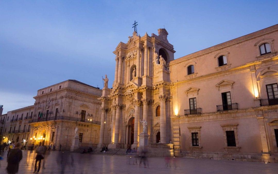 Image of the Piazza del Duomo in Ortigia, Syracuse, Sicily at dusk