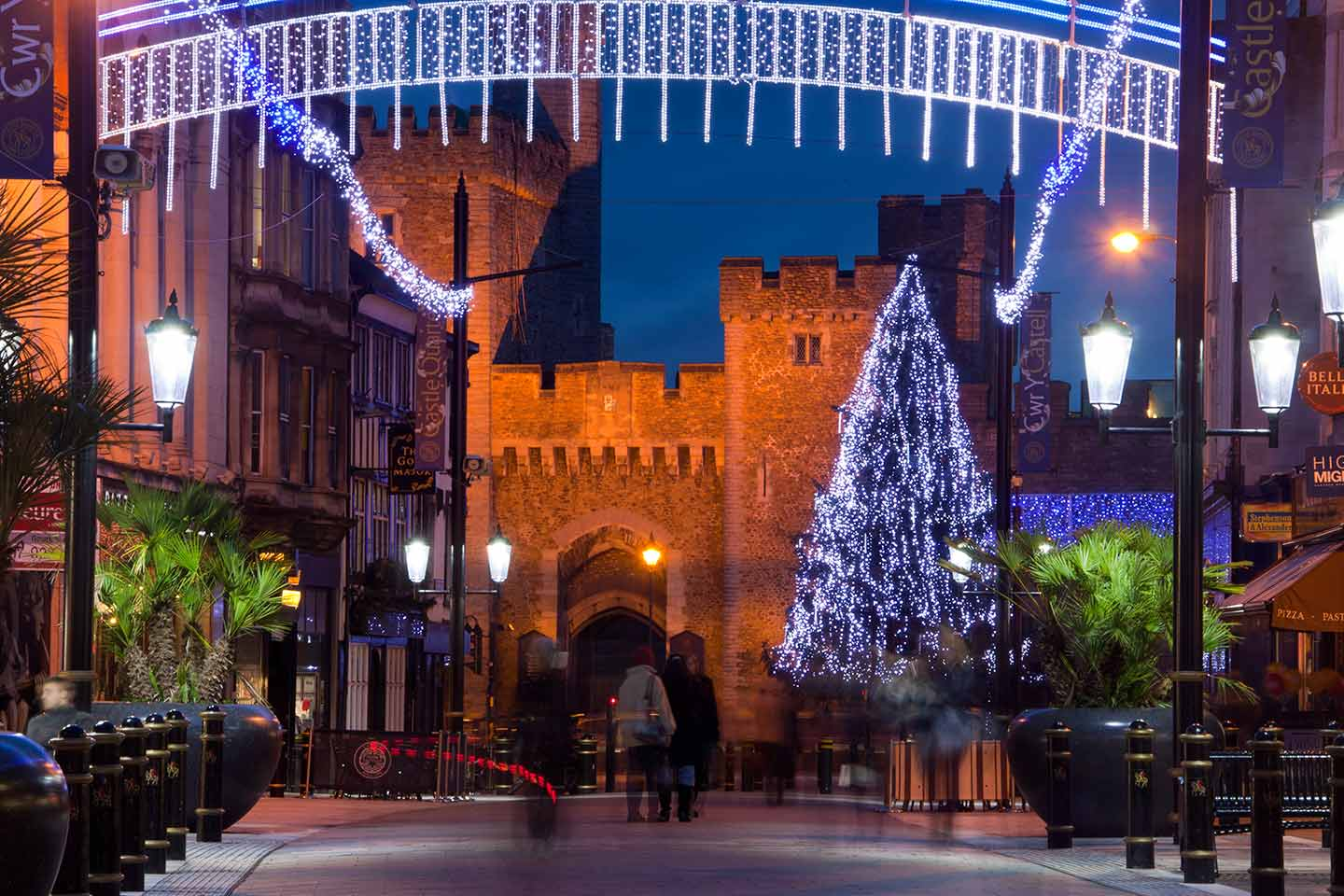 Image of Cardiff Castle and the Christmas lights