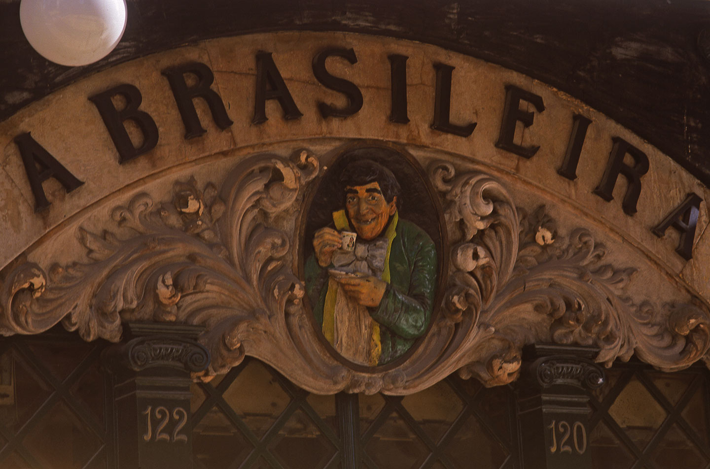 Image of the A Brasileira cafe sign in Lisbon