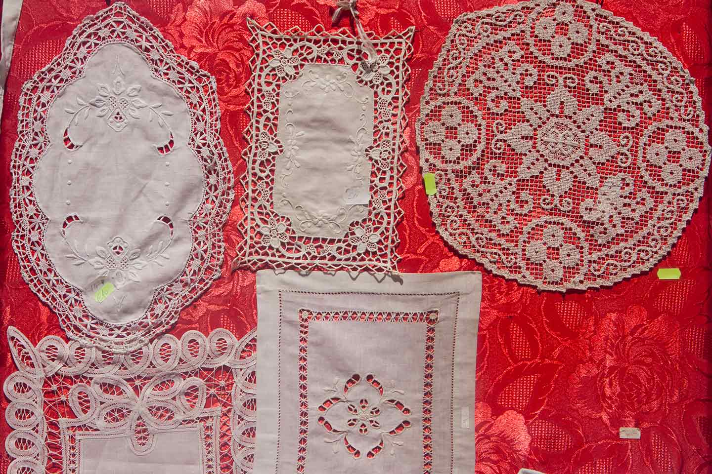 Image of Burano Lace for sale at a shop on the island