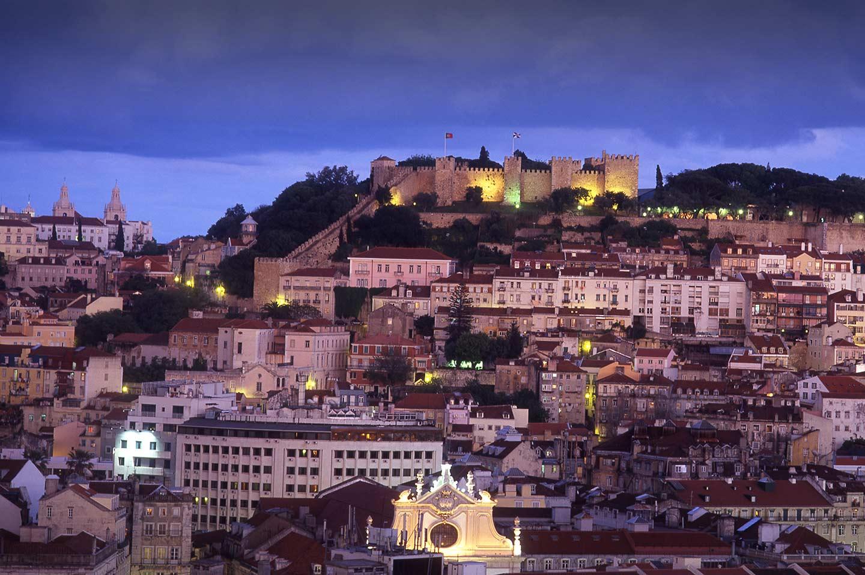 Image of Castelo de São Jorge from Sao Pedro de Alcantara in the Bairro Alto Lisbon