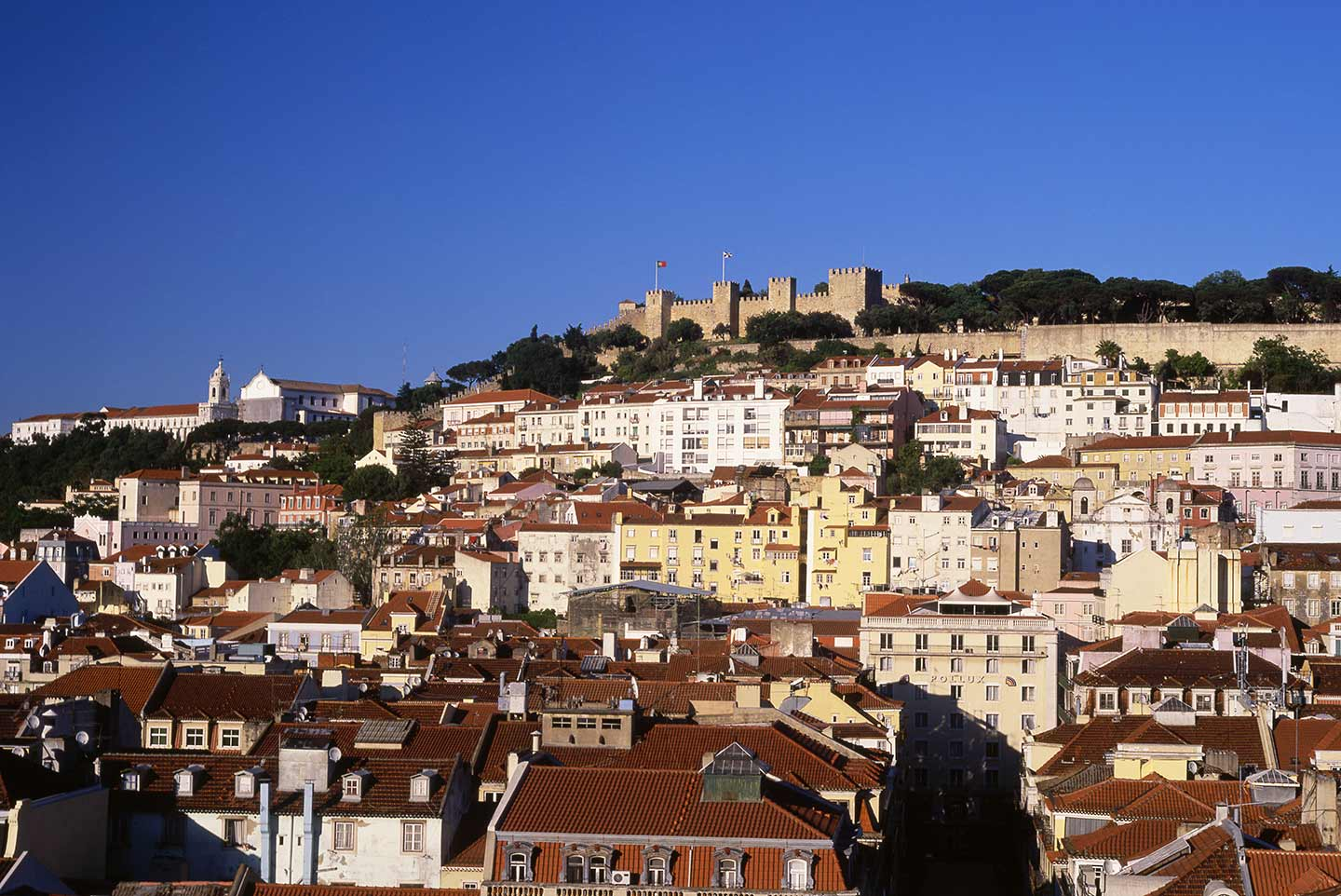 Image of the Baixa and Castelo de São Jorge from the Miradouro de Santa Justa Lisbon