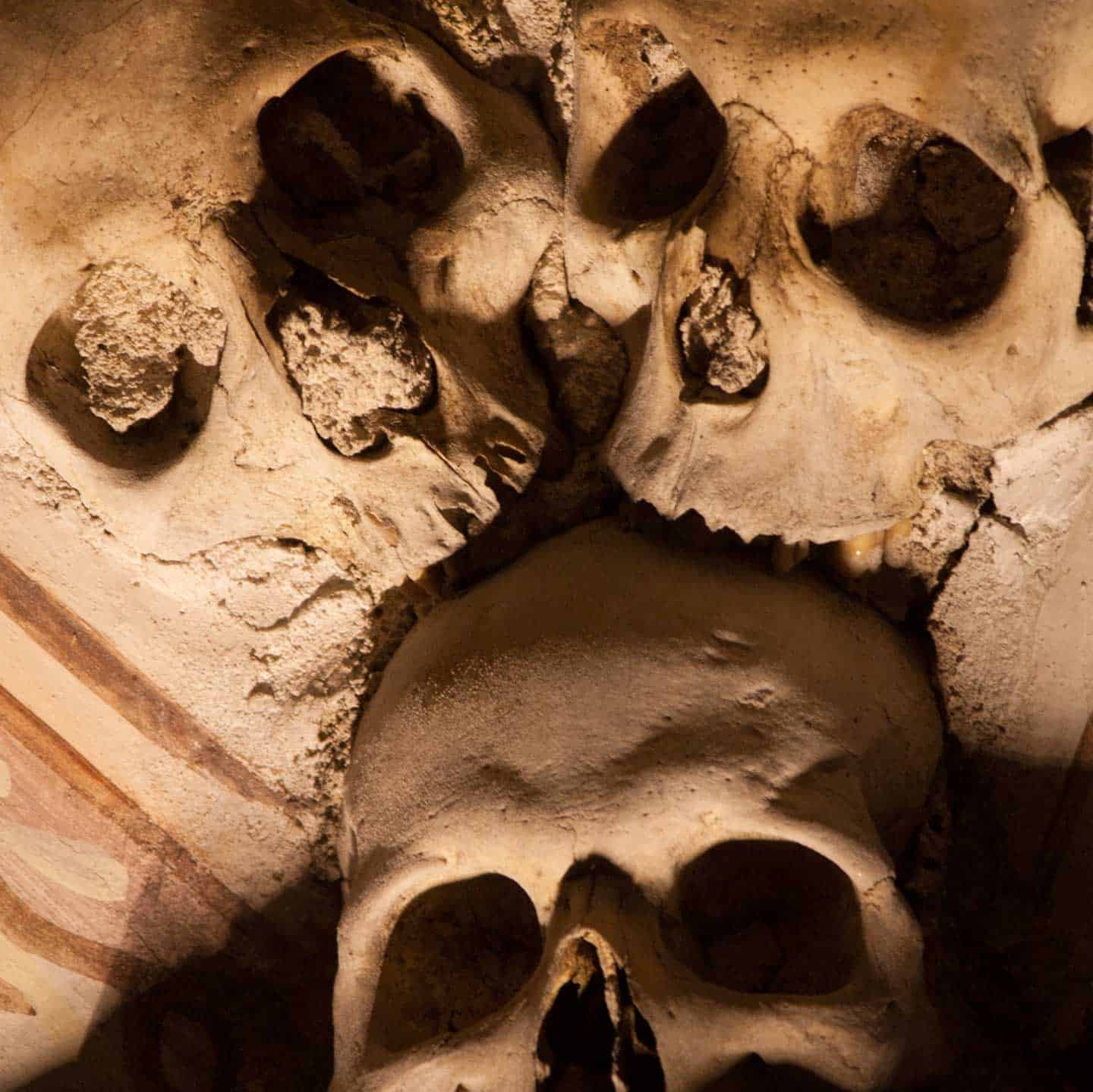 Image of three skulls at the Chapel of Bones, Evora