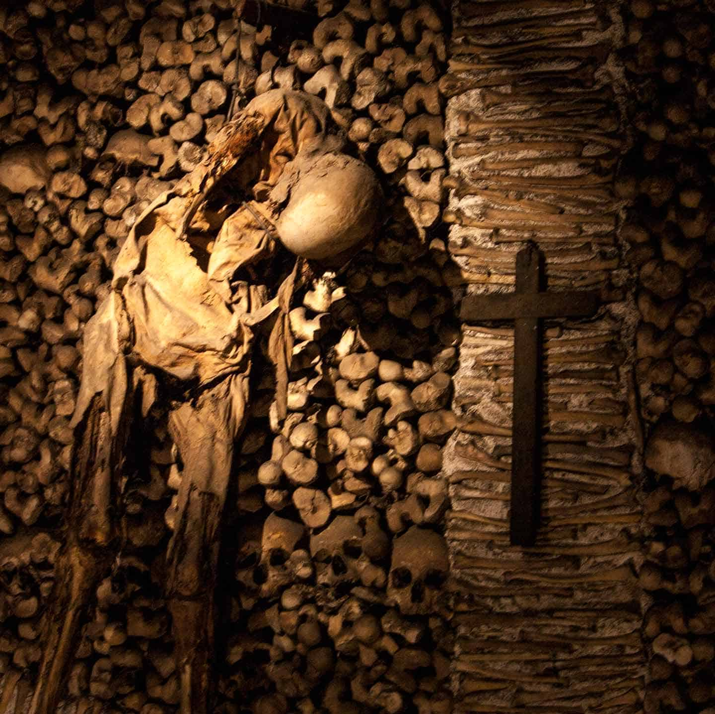 Image of a desiccated corpse in the Chapel of Bones in Evora