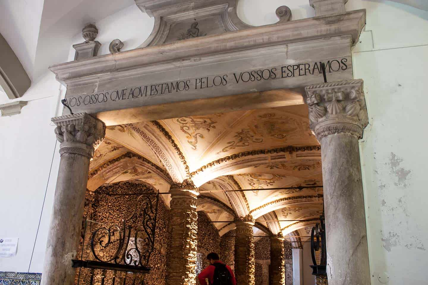 Image of the entrance to the Chapel of Bones in Evora
