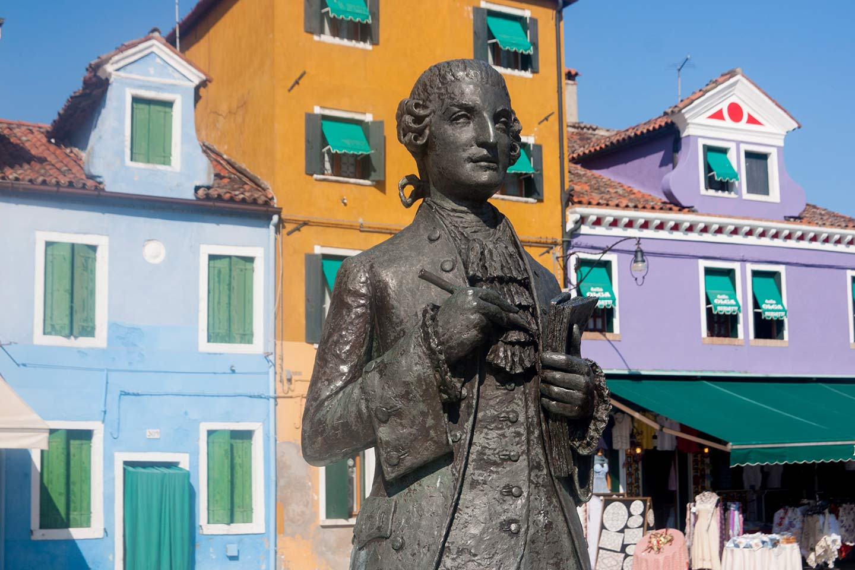 Image of statue of composer Baldassare Galuppi in Burano, Venice
