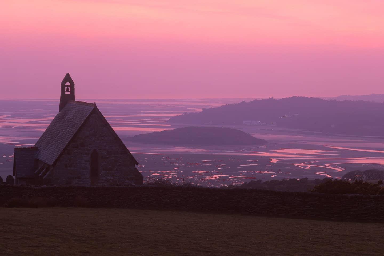Image of a Portmeirion sunset from Llandecwyn Church