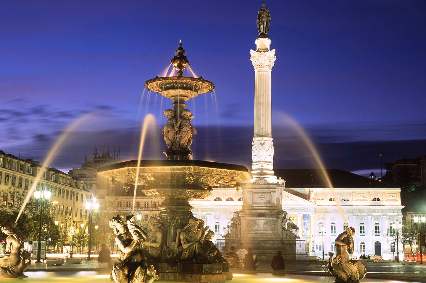 Image of Rossio Square in Lisbon at night