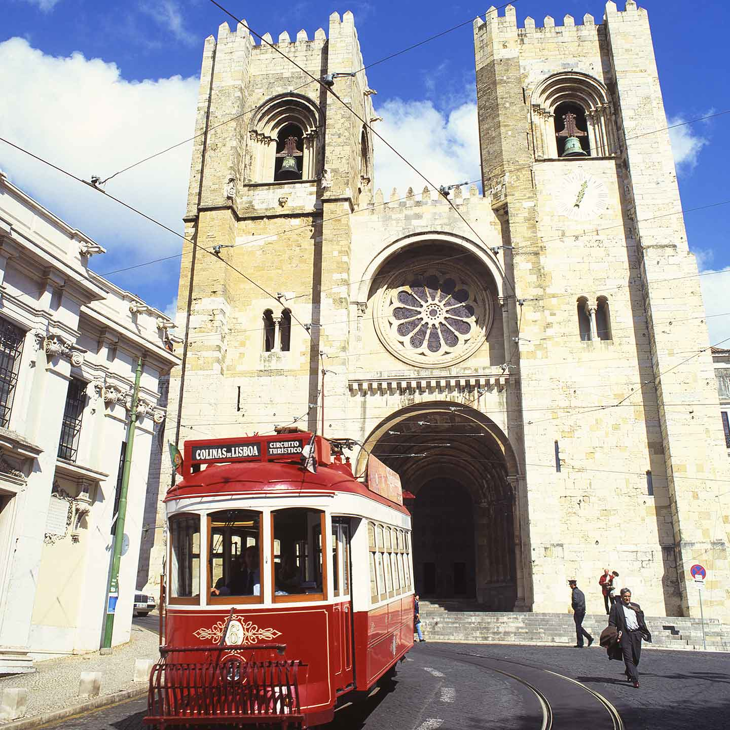 3 days in LIsbon Image of tram passing the Cathedral in LIsbon
