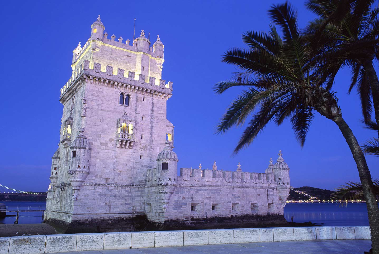 Image of the Belem Tower and River Tagus at night, Lisbon