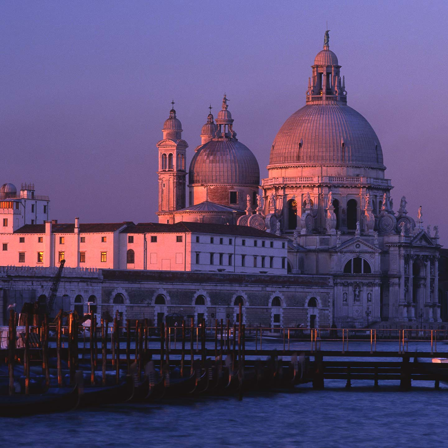 Image of Santa Maria della Salute church Venice in dawn sunlight